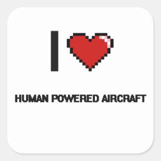 Eu amo o design retro psto ser humano de Digitas Adesivo Quadrado