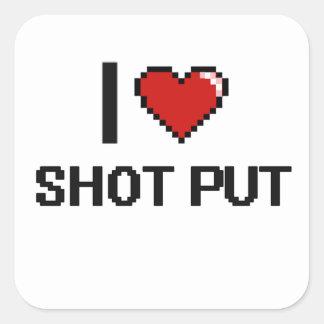 Eu amo o design retro psto tiro de Digitas Adesivo Quadrado