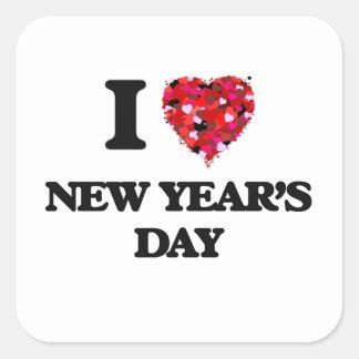Eu amo o dia do ano novo adesivo quadrado