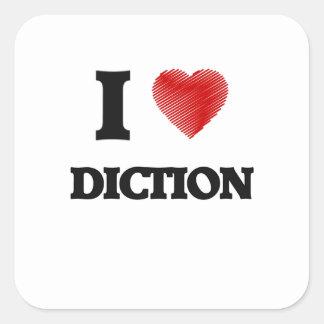 Eu amo o Diction Adesivo Quadrado