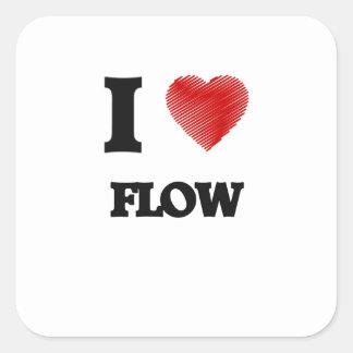 Eu amo o fluxo adesivo quadrado