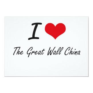 Eu amo o Grande Muralha China Convite 12.7 X 17.78cm