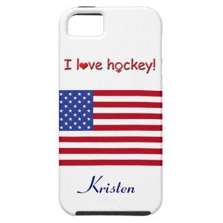 Eu amo o hóquei! - Bandeira dos E.U. +Nome Capas iPhone 5