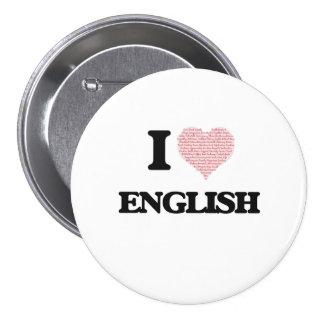Eu amo o inglês bóton redondo 7.62cm