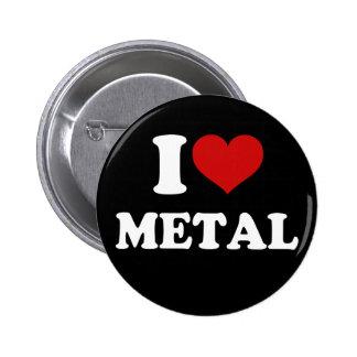 Eu amo o metal bóton redondo 5.08cm