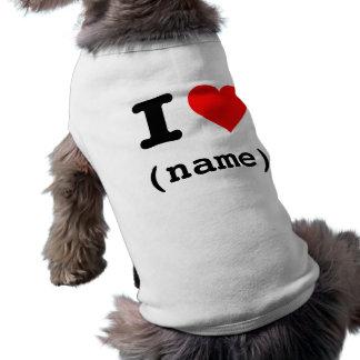 """""""EU AMO (o nome customizável) """" Camisa Sem Mangas Para Cachorro"""