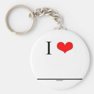 Eu amo (o nome da inserção) chaveiro