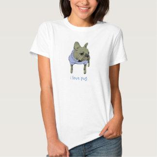 eu amo o pug t-shirt