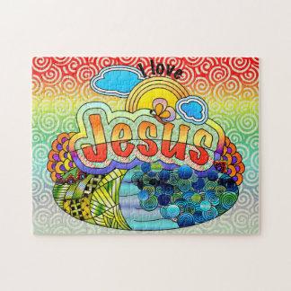 Eu amo o quebra-cabeça de serra de vaivém de Jesus
