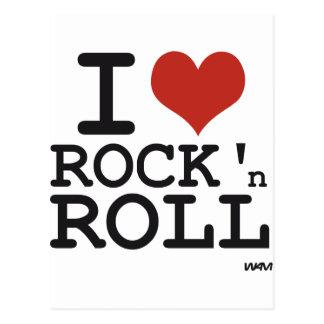 Eu amo o rock and roll cartão postal