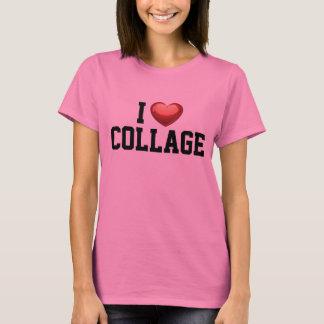 Eu amo o rosa da faculdade da colagem t-shirt