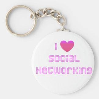 Eu amo o rosa social dos trabalhos em rede chaveiros