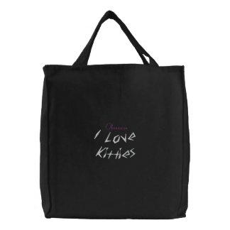 Eu amo o saco bordado gatinhos bolsas bordadas
