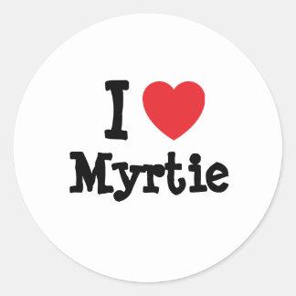 Eu amo o t-shirt do coração de Myrtie Adesivo