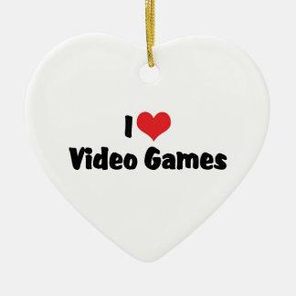 Eu amo o video games do coração - amante do jogo ornamento de cerâmica coração