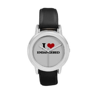 Eu amo PSTO EM PERIGO Relógios De Pulso