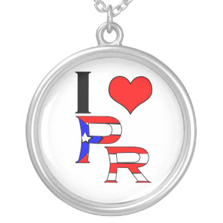 Eu amo Puerto Rico Colar Banhado A Prata