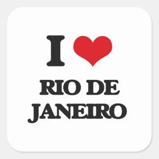 Eu amo Rio de Janeiro Adesivo Quadrado