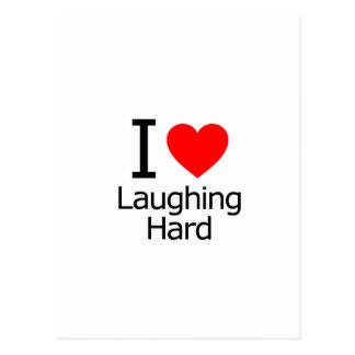 Eu amo rir o duro cartão postal