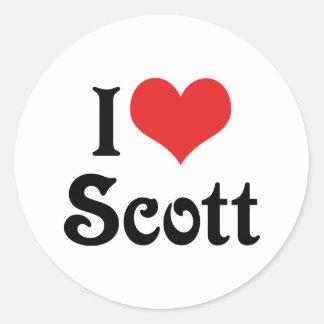 Eu amo Scott Adesivos Em Formato Redondos