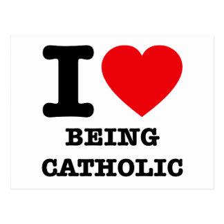 Eu amo ser católico cartão postal