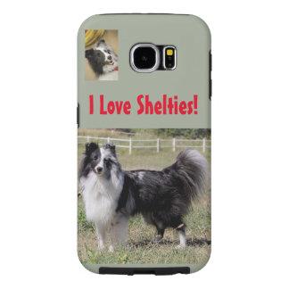 Eu amo Shelties! com Bi Sheltie azul - Samsung S6 Capas Samsung Galaxy S6