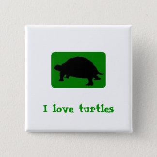 Eu amo tartarugas bóton quadrado 5.08cm