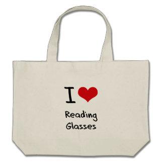 Eu amo vidros de leitura bolsas para compras