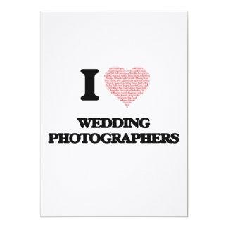 Eu amo Wedding fotógrafo (coração feito da palavra Convite 12.7 X 17.78cm