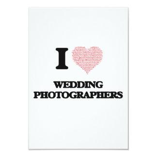 Eu amo Wedding fotógrafo (coração feito da palavra Convite 8.89 X 12.7cm