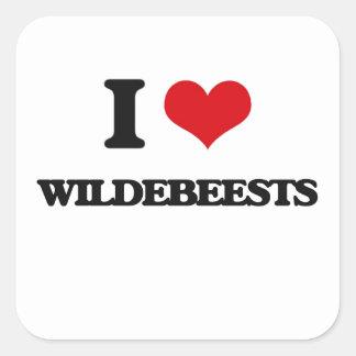 Eu amo Wildebeests Adesivo Quadrado