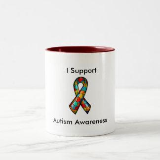 Eu apoio a consciência do autismo caneca dois tons