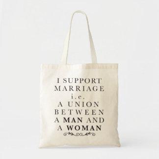 Eu apoio o casamento bolsa tote