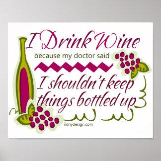 Eu bebo o design engraçado do vinho poster