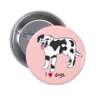 Eu cães do coração, cão preto e branco manchado ab boton
