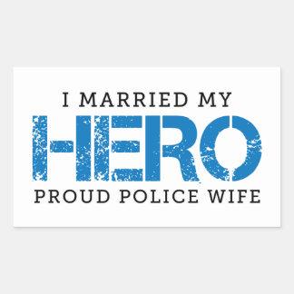 Eu casei meu herói - esposa da polícia adesivo retangular