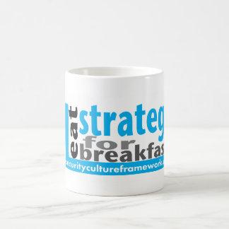 Eu como a estratégia para o pequeno almoço - caneca de café