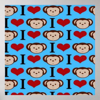 Eu coração Monkeys namorados da cerceta de turques Impressão