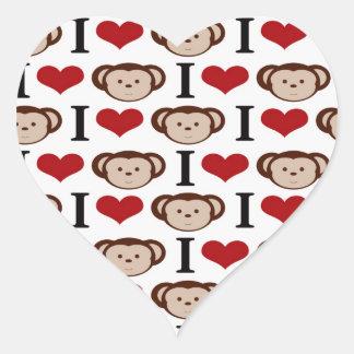 Eu coração Monkeys presentes dos namorados do Adesivo Coração