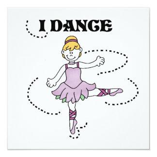 Eu danço camisas e presentes da bailarina T Convite Quadrado 13.35 X 13.35cm