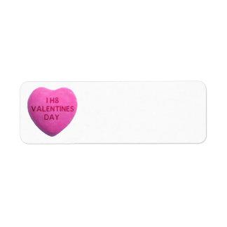 Eu deio o coração cor-de-rosa dos doces do dia dos etiqueta endereço de retorno