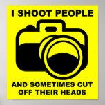 Eu disparo em pessoas do sinal engraçado da fotogr impressão