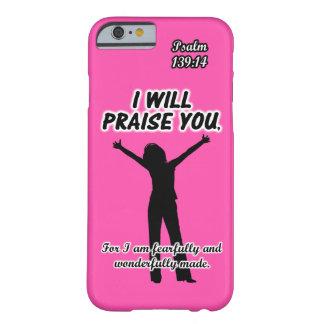 Eu elogiá-lo-ei - silhueta do rosa do 139:14 do capa barely there para iPhone 6