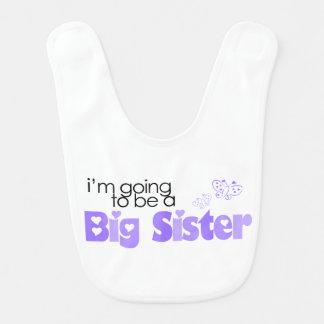 Eu estou indo ser uma irmã mais velha {roxa} babadores infantis