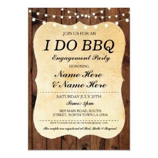 EU FAÇO o noivado que do CHURRASCO a madeira Convite 12.7 X 17.78cm