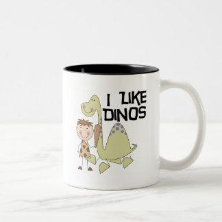 Eu gosto de Dinos - camiseta e presentes do menino Caneca Dois Tons
