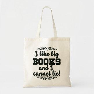 Eu gosto de livros grandes e eu não posso sacola tote budget
