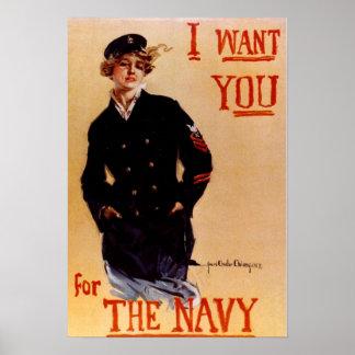 Eu quero-o poster do marinho do vintage