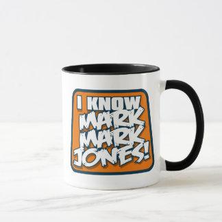 Eu sei a caneca de Jones da marca da marca