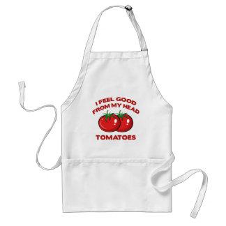 Eu sinto bom de meus tomates principais avental